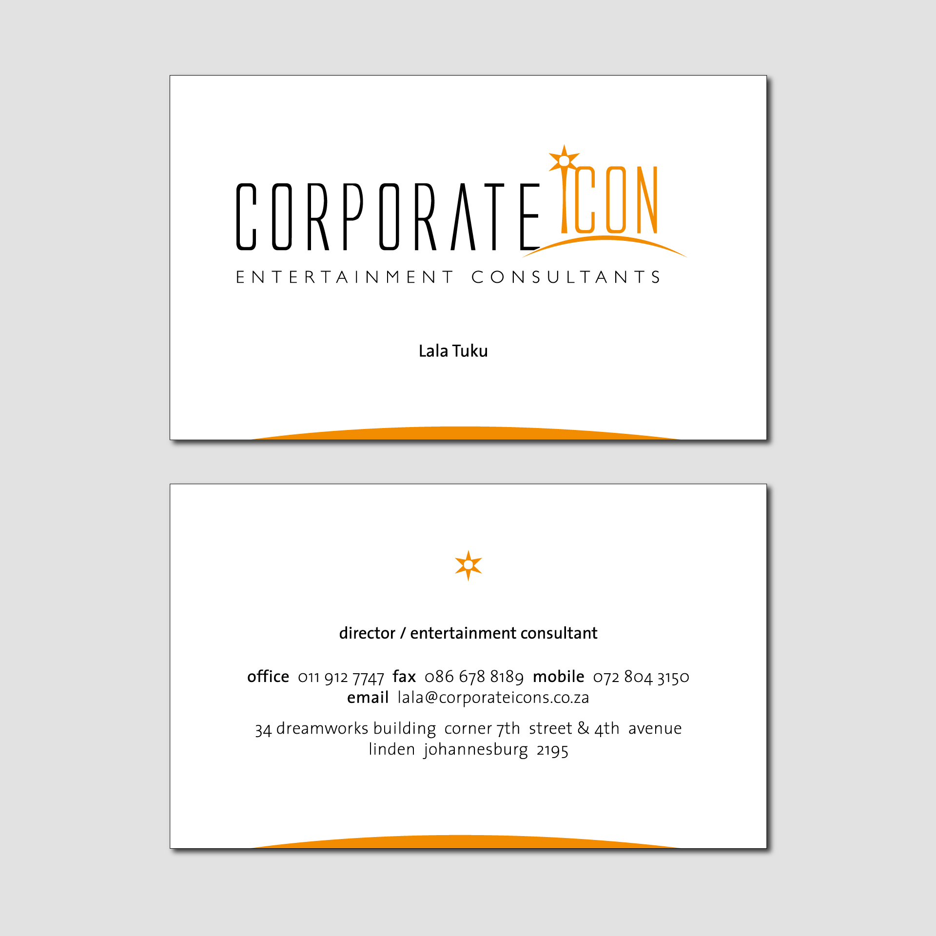 Corporate Icon Entertainment Consultants Business Card